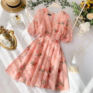 Lucuna - Balloon-Sleeve Floral Print Chiffon Dress