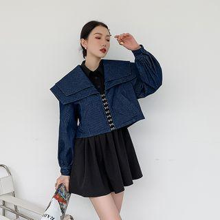 Arabesquito - Long-Sleeve Mini A-Line Shirt Dress / Striped Jacket