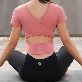 PALSNOW - 短袖镂空短款运动T裇 / 瑜伽长裤 / 套装