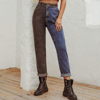 Silkblitz - 双色九分直筒牛仔裤