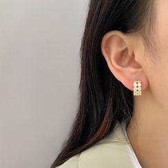 Kinkoza - Faux Pearl Rhinestone Hoop Earring