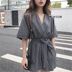 FUEMA - Elbow-Sleeve Checkered Wide-Leg Playsuit