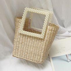 Elencee - Faux Pearl Square Handle Woven Handbag