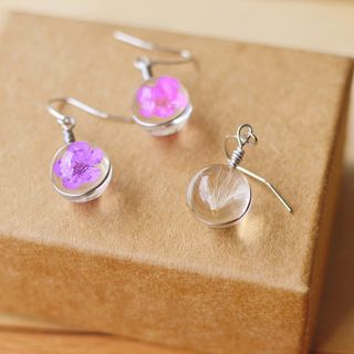 Nisen - Flower Glass Ball Drop Earring