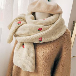 Pompabee - Embroidered Strawberry Knit Scarf
