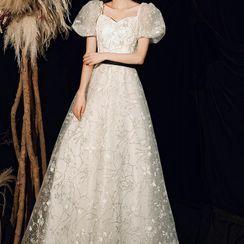 Showstopper - 泡泡袖方领刺绣网纱晚礼服