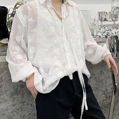 ANCHO(アンチョ) - Embroidered Long Sleeve Plain Shirt