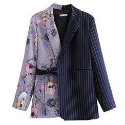 Indesi - Floral Paneled Striped Tie Waist Blazer