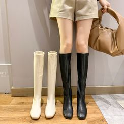 Nikao - Block-Heel Zip Short Boots / Tall Boots