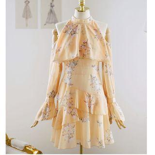 Shima - Minivestido con estampado floral de manga larga y hombros descubiertos