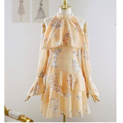 Shima - Long-Sleeve Cold Shoulder Floral Print Mini Dress
