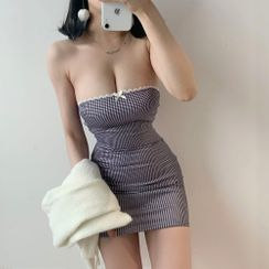 Ohnana - Strapless Plaid Mini Bodycon Dress