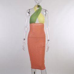 Cincine - Halter-Neck Color Block Mini Sheath Dress