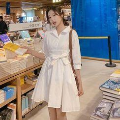 Sienne - 3/4-Sleeve Sashed A-Line Shirt Dress