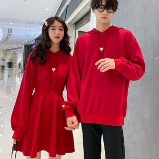 Robynn - Couple Matching Heart Embroidery Hoodie / Dress