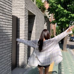 CHERRYKOKO - Long-Sleeve Plaid Shirt