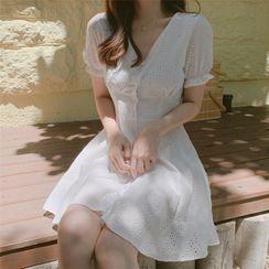 minaga - Eyelet Short-Sleeve A-Line Mini Dress