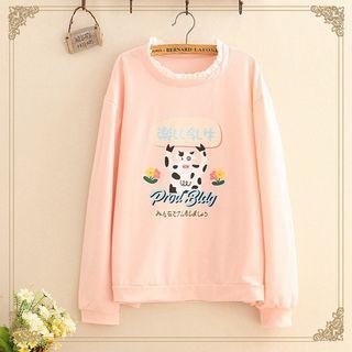 Kawaii Fairyland - Lace-Trim Cow Print Sweatshirt