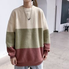 YERGO(ヤーゴ) - Long-Sleeve Color-Block Knit Top