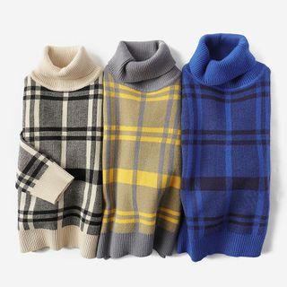 Happy Go Lucky - Kids Turtleneck Plaid Sweater
