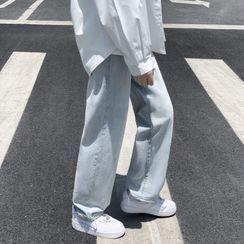Meiki - 水洗破洞直筒牛仔裤