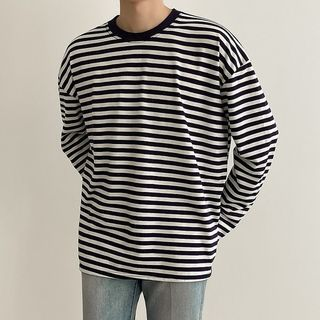 Seoul Homme - Round-Neck Striped T-Shirt