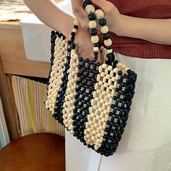FROMBEGINNING - Wooden Bead Two-Tone Tote