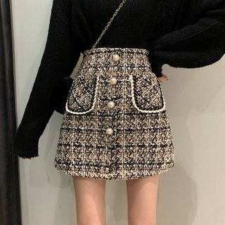 OGAWA - Faux Pearl Button-Up Tweed Skirt