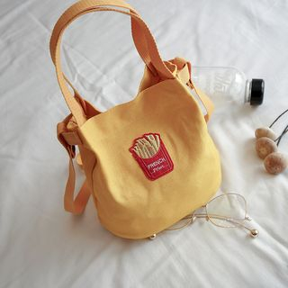 Behere(ビーヒア) - Embroidered Canvas Bucket Bag