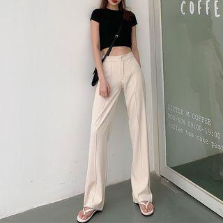 Newkoou - High-Waist Wide-Leg Dress Pants