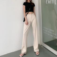 Newkoou - 高腰纯色西裤