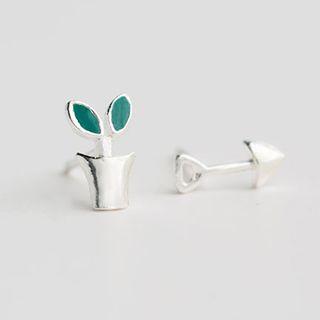 Kataract - 不對稱925純銀盆栽耳環