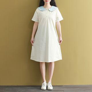 Fancy Show - Sailor Collar Short-Sleeve A-Line Dress