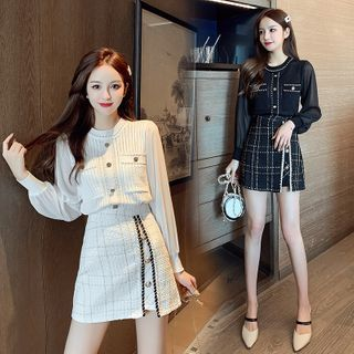 Tanzil - Set: Long-Sleeve Button-Up Knit Top + Plaid Mini Skirt