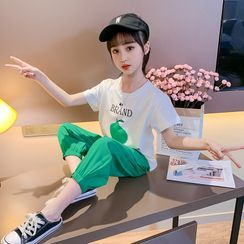 Qin Qin - Kids Set: Short-Sleeve Graphic Print T-Shirt + Pants