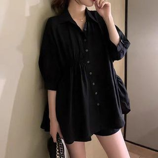 Donnae - Asymmetric Shirred Short-Sleeve Blouse