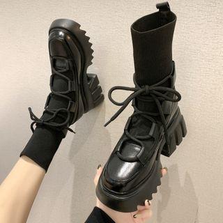 Yuki Yoru - 粗跟系带袜子短靴
