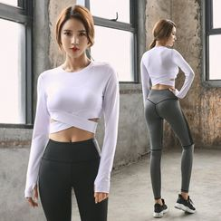 PAIYIGE - Set: Sports Bra + Long-Sleeve T-Shirt + Yoga Pants