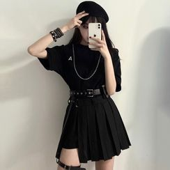 PokkaMoma - Elbow-Sleeve T-Shirt / Pleated Mini A-Line Skirt / Belt / Garter / Set