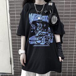 MELLO - Printed Oversize Elbow-Sleeve T-Shirt