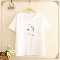 Kawaii Fairyland - Duck Print Short-Sleeve Top