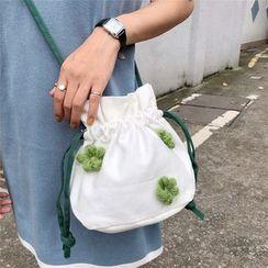 Milha - Floral Applique Drawstring Canvas Bucket Bag
