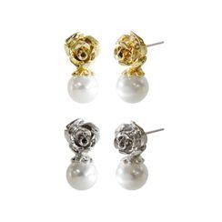 KATENKELLY - Rose & Pearl Earrings