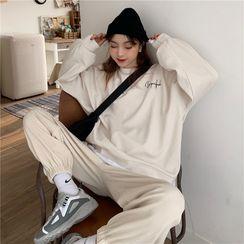 Gilmort - 宽松坑条纹长袖卫衣+收脚显瘦运动裤