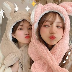 Yunikon - Chenille Rabbit Hooded Scarf With Movable Ears