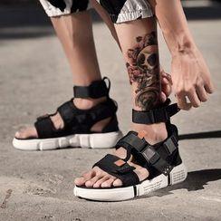 Auxen - Buckle Details High-Top Sandals