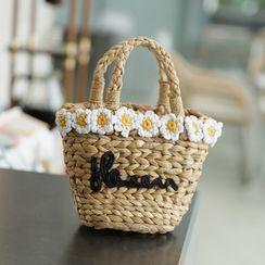 Lemite - Flower Appliqu  Basket Hand Bag