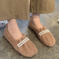 Queenie's Home - Faux Pearl Fleece Slip-Ons