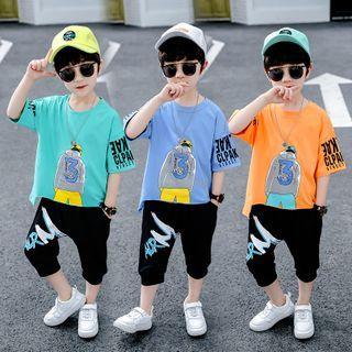 PAM - Kids Set: Elbow-Sleeve Cartoon Print T-Shirt + Shorts