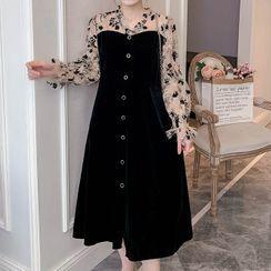 Empressa - Maternity Long-Sleeve Mock Two-Piece Flower Print Midi Dress